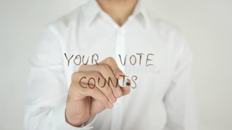 I vostri conteggi di voto, scritti su vetro fotografia stock