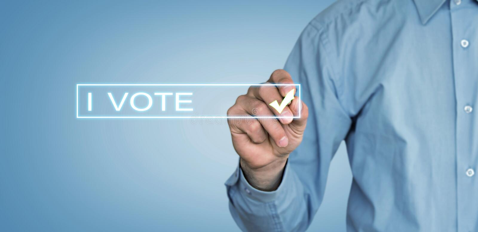 I Vote text with businessman hand. royalty free stock images