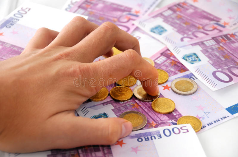 I want all this money! stock image