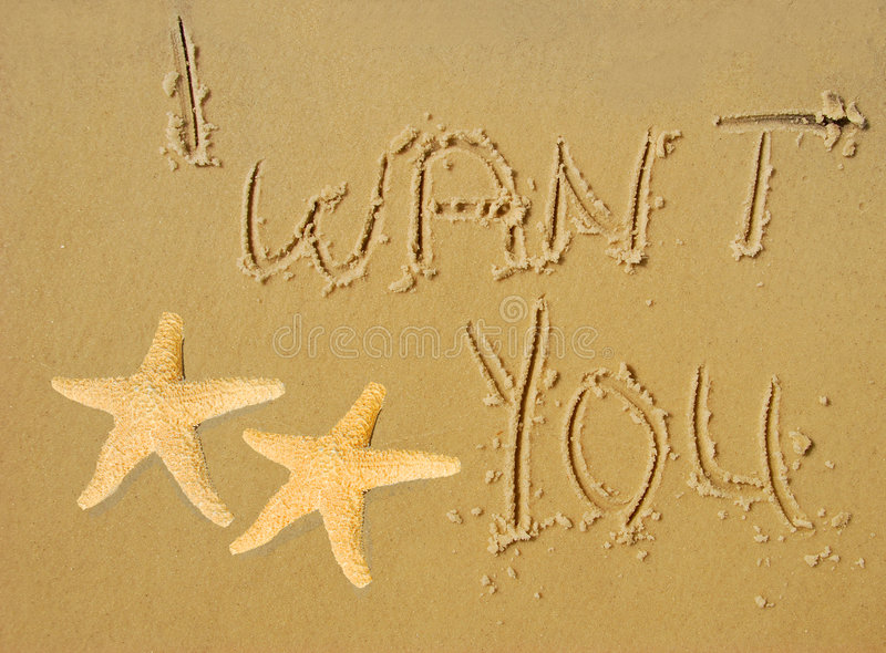Download I Want You Written in Sand stock photo. Image of ocean - 5080748