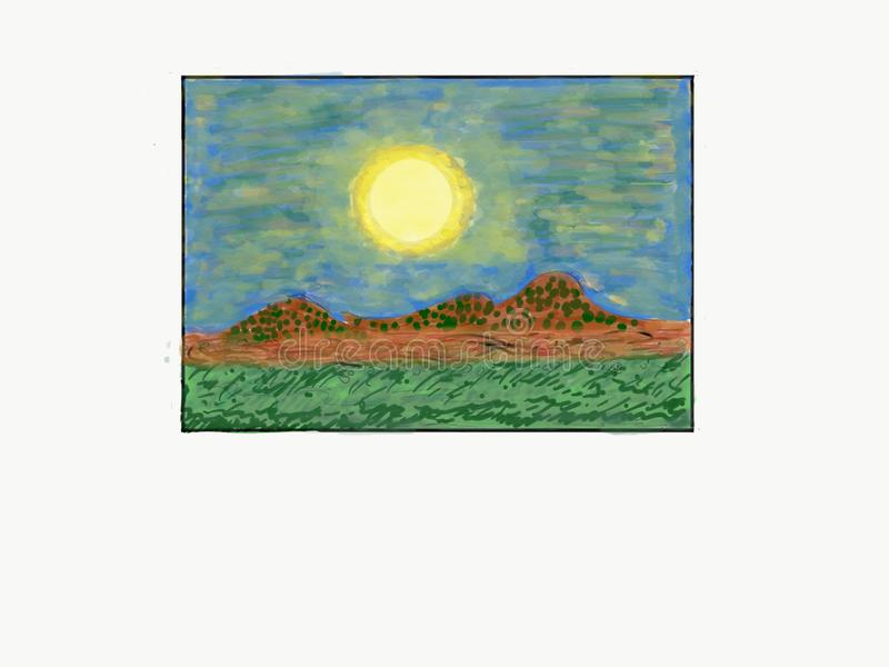 Outside moon, single layer of bright radiation shining over landscape of mountains, dry land Background Abstract Art Nature Photo. I wanted to draw the moon stock illustration