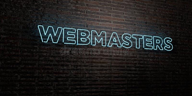 I WEBMASTER - insegna al neon realistica sul fondo del muro di mattoni - 3D hanno reso l'immagine di riserva libera della sovrani illustrazione vettoriale