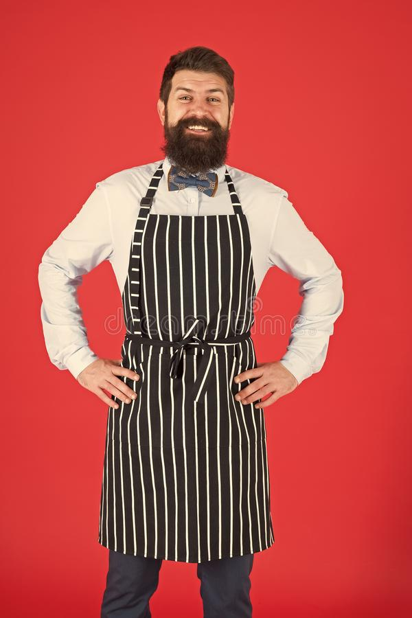 I will cook for you. Bearded man cook smiling in apron. Confident master cook with beard and moustache wearing bib apron. Stylish chief cook in bow tie and royalty free stock images