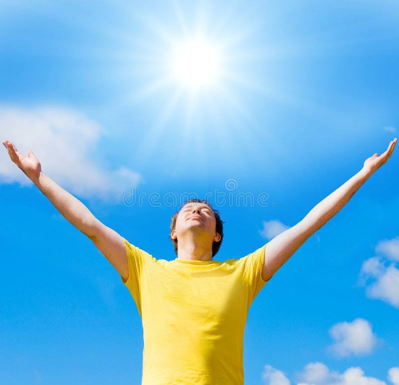 I worship the sun stock photography