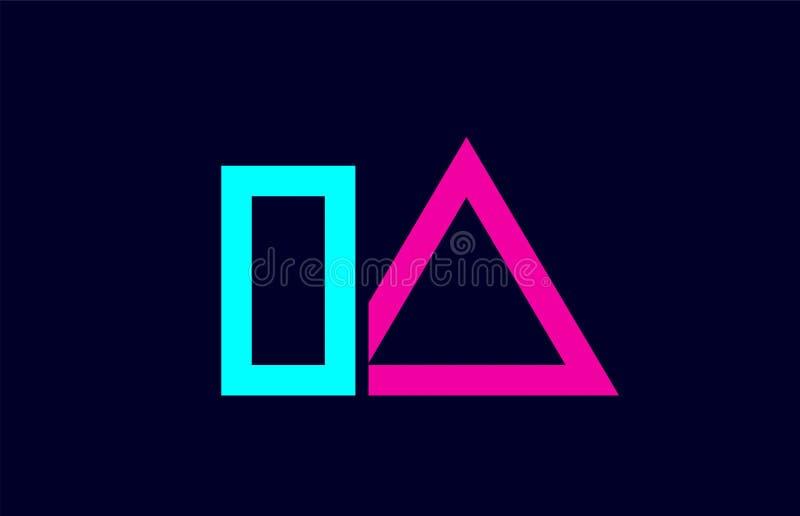 IA I一个蓝色桃红色五颜六色的字母表字母表信件商标组合设计 皇族释放例证