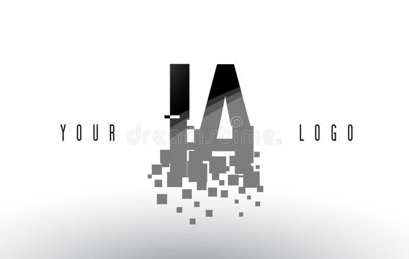 IA I un logo de lettre de pixel avec les places noires brisées par Digital illustration libre de droits
