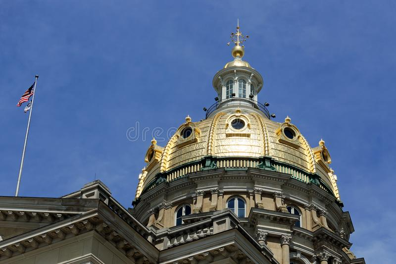IA State Capitol Dome In the Sun. The Iowa State Capitol dome gleams in the sunlight. The beautiful dome has stood over Des Moines since 1886 stock image