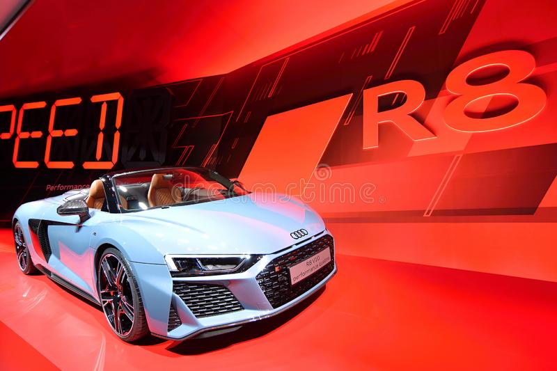 68. IAA Frankfurt 2019 -  Audi R8 Spyder V10 Performance quattro. New Audi R8 V10 performance quattro car in gray metallic - luxury cabriolet presented at IAA royalty free stock photo