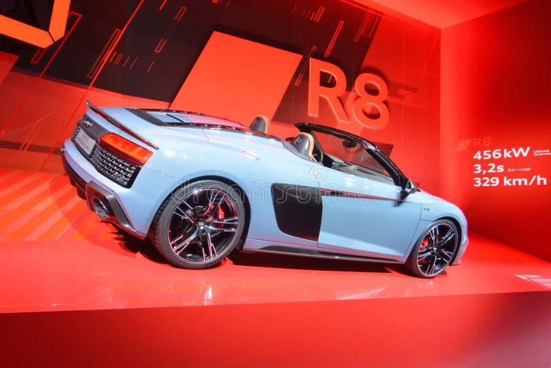 68. IAA Frankfurt 2019 -  Audi R8 Spyder V10 Performance quattro. New Audi R8 V10 performance quattro car in gray metallic - luxury cabriolet presented at IAA royalty free stock images