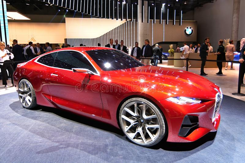 68. IAA Frankfurt 2019 - BMW Concept 4. The 68th IAA Cars show in Frankfurt is the venue for the unveiling of the BMW Concept 4 – a future-focused royalty free stock photography