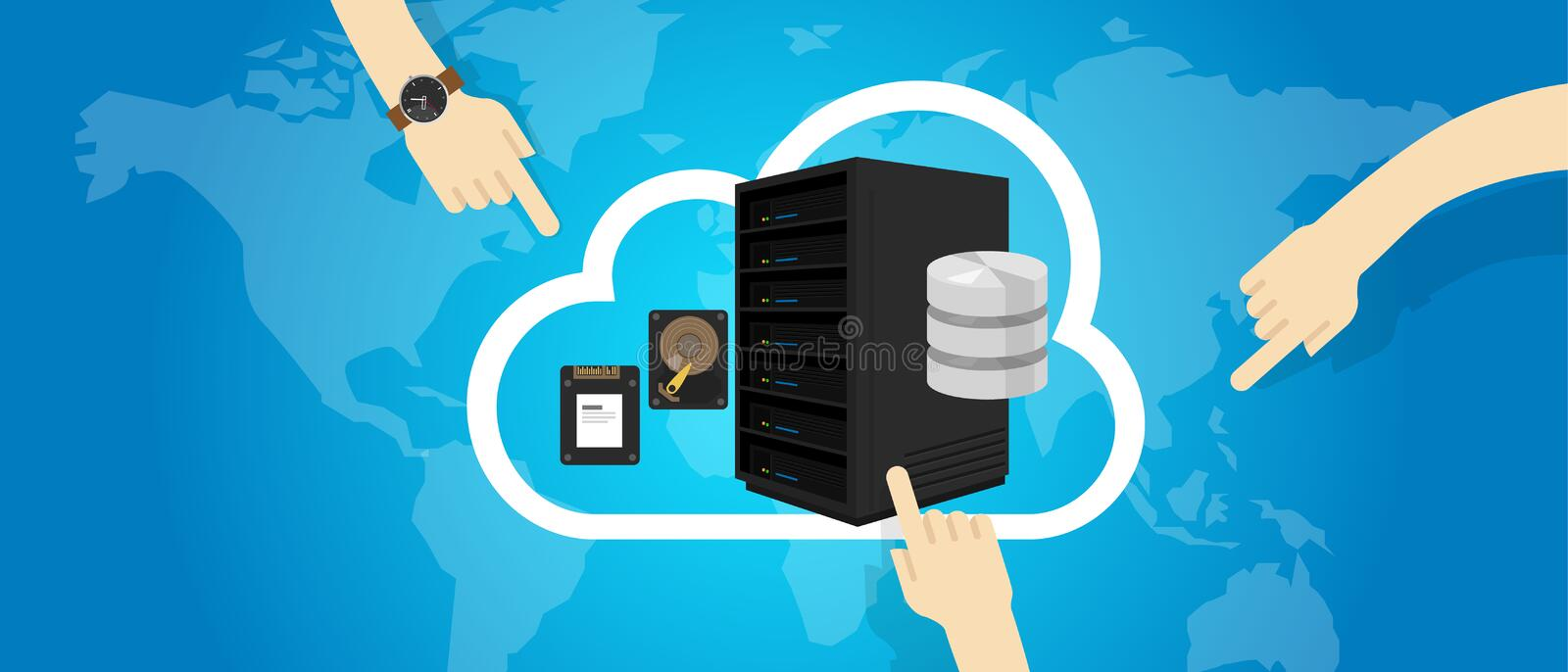 IaaS Infrastructure as a Service on the cloud internet hand decide select. Vector stock illustration