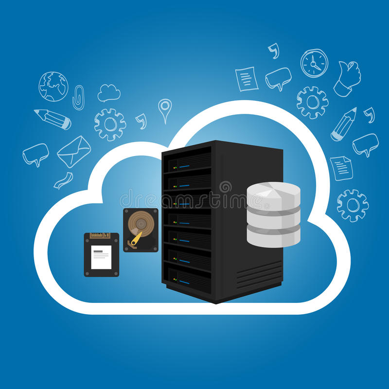 IaaS Infrastructure as a Service on the cloud internet hosting server storage. Vector royalty free illustration