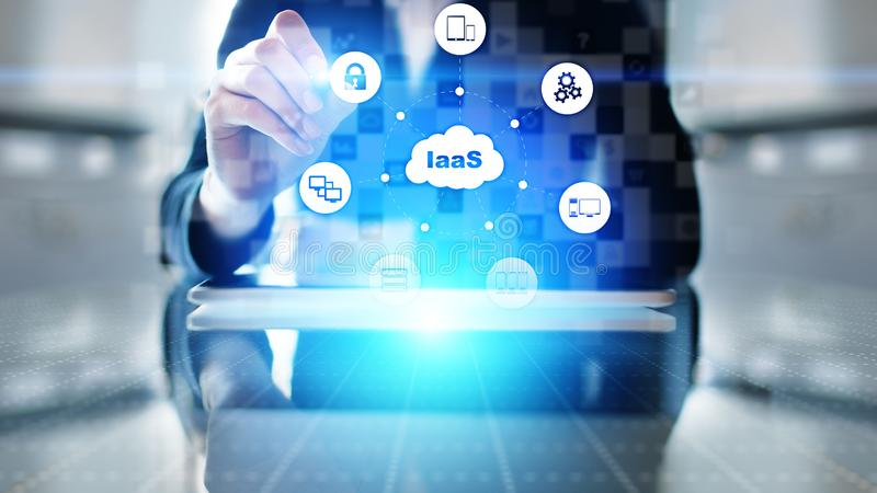 IaaS - Infrastructure as a service, networking and application platform. Internet technology concept on virtual screen. IaaS - Infrastructure as a service royalty free stock photos