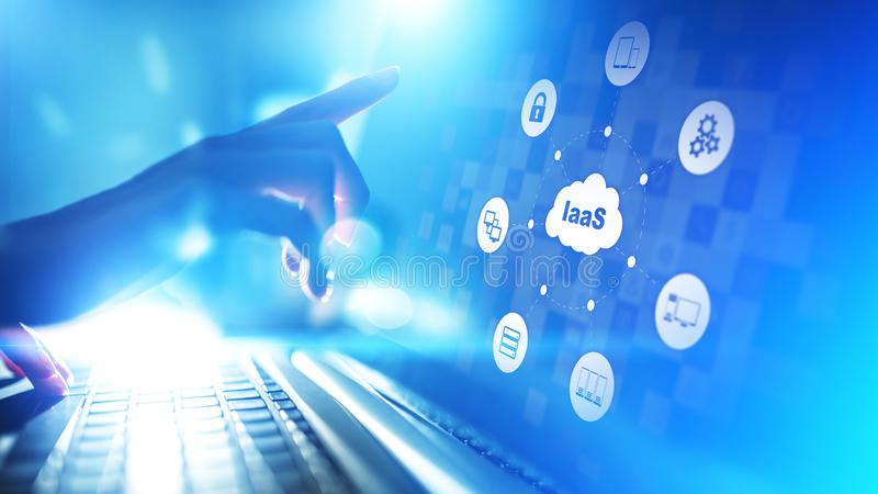 IaaS - Infrastructure as a service, networking and application platform. Internet technology concept on virtual screen. IaaS - Infrastructure as a service stock image
