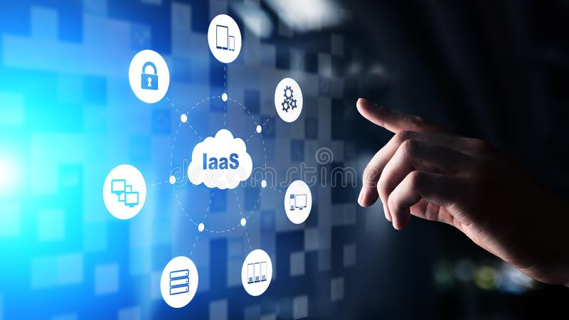 IaaS - Infrastructure as a service, networking and application platform. Internet technology concept on virtual screen. IaaS - Infrastructure as a service stock photos