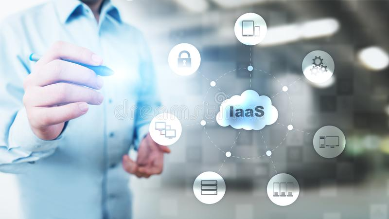 IaaS - Infrastructure as a service, networking and application platform. Internet technology concept on virtual screen. IaaS - Infrastructure as a service royalty free stock photo