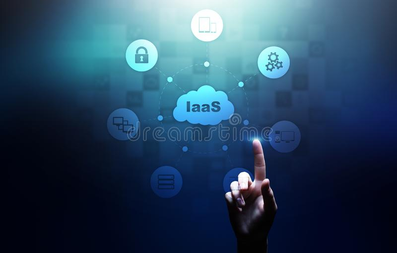 IaaS - Infrastructure as a service, networking and application platform. Internet technology concept on virtual screen. IaaS - Infrastructure as a service royalty free stock image