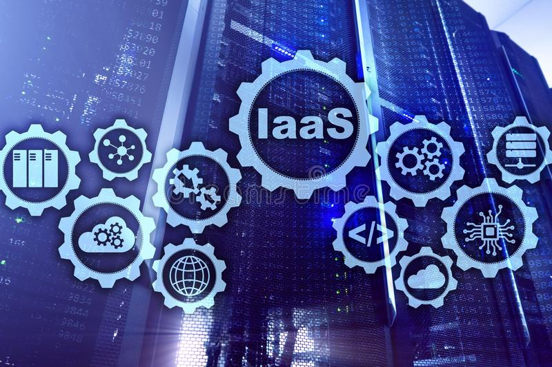IaaS, Infrastructure as a Service. Online Internet and networking concept. Graph icons on a digital screen. royalty free stock photography