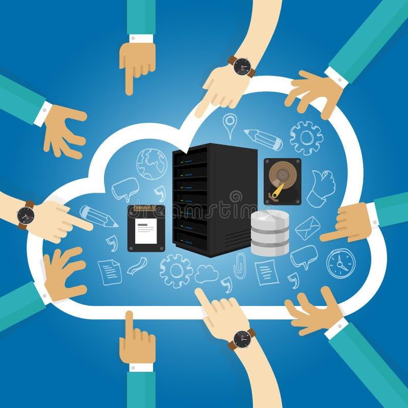 IaaS infrastruktur, som en service delade att vara värd maskinvara i virtualizationen för serveren för molnlagringsdatabas vektor illustrationer