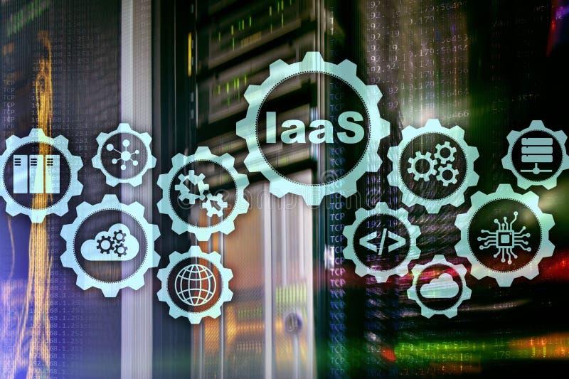 IaaS infrastruktur som en service Online-internet- och knyta kontaktbegrepp Grafsymboler p? en digital sk?rm stock illustrationer