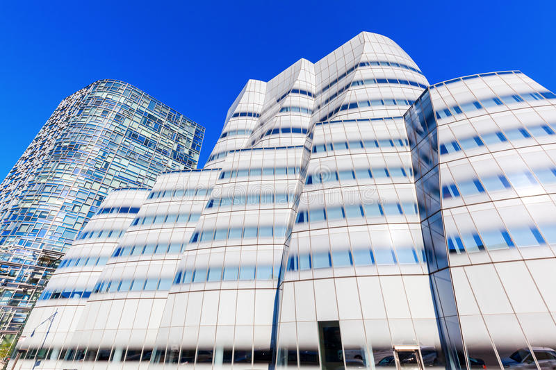 IAC building by architect Frank Gehry in NYC. New York City, NY, USA - October 12, 2015: IAC building in Chelsea Manhattan. It was the first building in New York stock photo