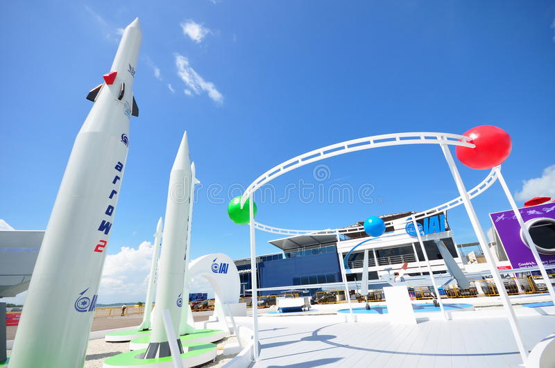 IAI Arrow Weapon System and exhibition showcase at Singapore Airshow 2012 royalty free stock images