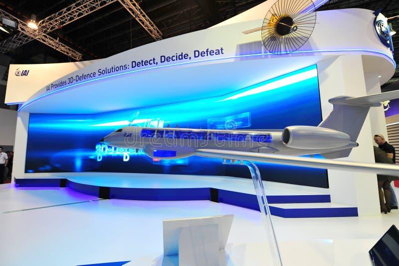 IAI-cabine die zijn defensieoplossingen demonstreren in Singapore Airshow stock foto