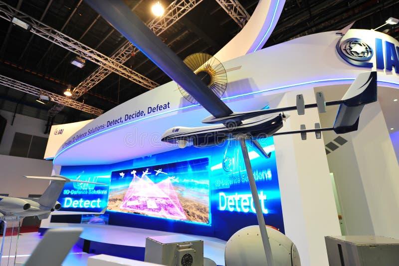 IAI-cabine die zijn defensieoplossingen demonstreren in Singapore Airshow royalty-vrije stock foto's