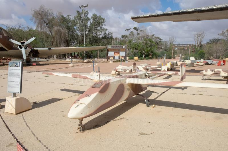 The IAI Scout - reconnaissance unmanned air vehicle developed by Israel Aircraft Industries. BEER-SHEvA, HATZERIM, ISRAEL - MAY 9, 2019: The IAI Scout stock photo