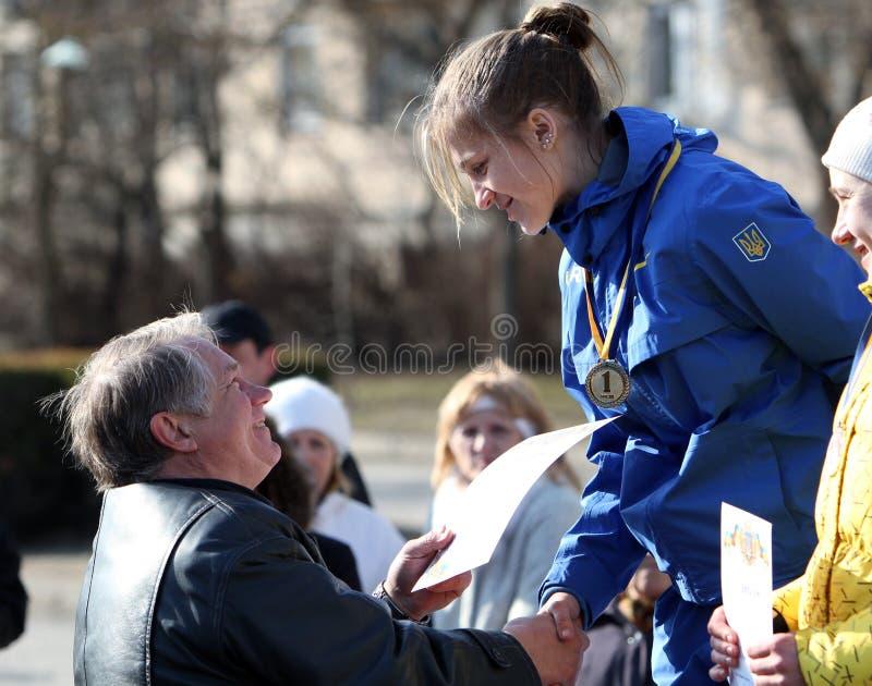 Iakovchuk Oksana winner of the 20,000 meters race. Walk, after Ukrainian Championships on March 07, 2012 in Yevpatoriya, Ukraine stock image