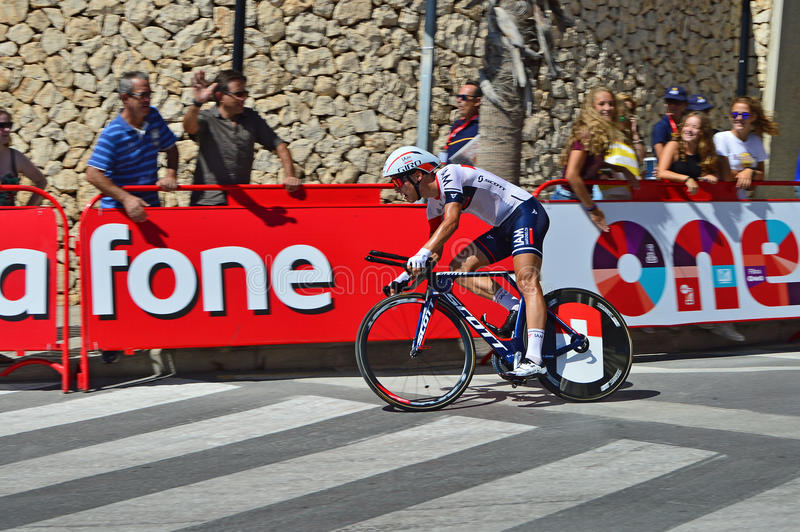 IAM Racing La Vuelta Espana Time Trial. The IAM team rider approaching the finish line of the time trial race stage 19 at La Vuelta España 2016 in Calpe Spain royalty free stock photography