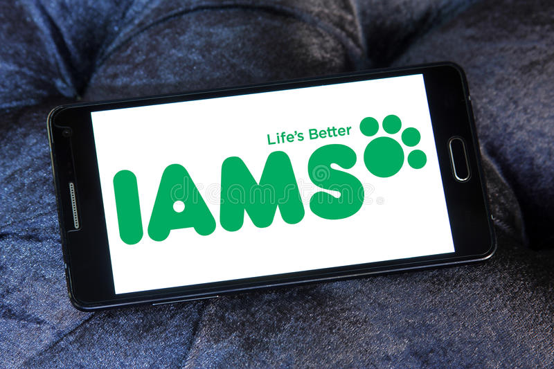 Iams pet food logo. Logo of iams pet food company on samsung mobile stock images