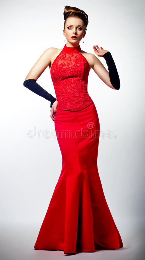 Iancee in red wedding dress. Beauty hairdo stock photos