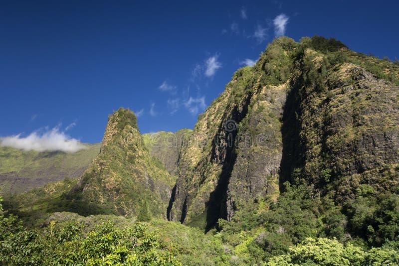 Iao dolina, igła na słonecznym dniu, Maui, Hawaje obraz stock
