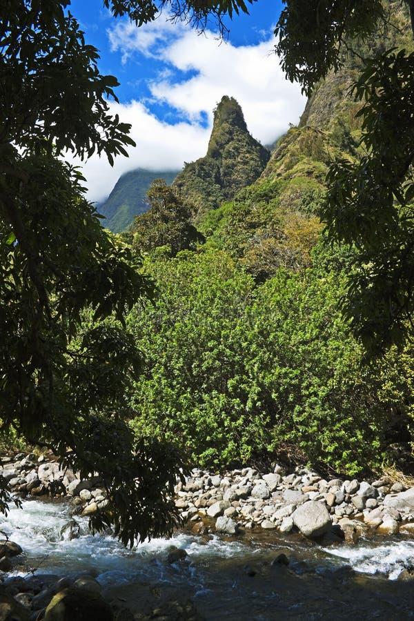 Iao-Nadel über Strom, Maui lizenzfreies stockfoto