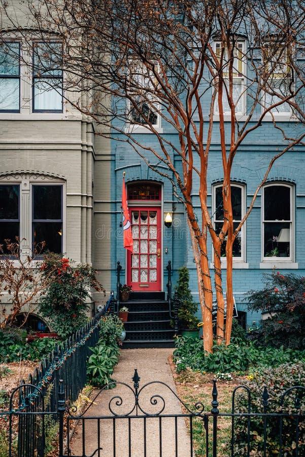 Iarda anteriore e casa a schiera blu in Capitol Hill, Washington, DC immagine stock