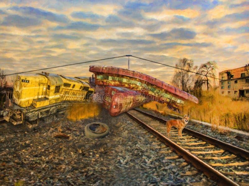 Iarda del treno del relitto del treno fotografia stock libera da diritti