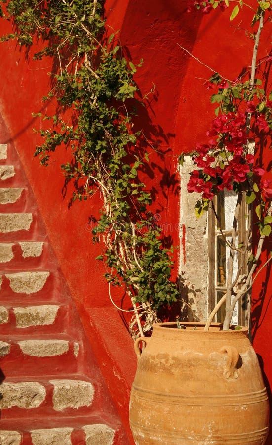 Iarda privata della casa. Isola di Santorini, Grecia fotografia stock libera da diritti