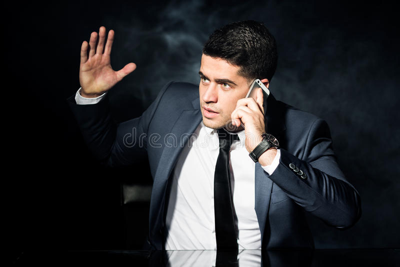 Iarte-Arbeitgeber während des Geschäftsgespräches stockbild