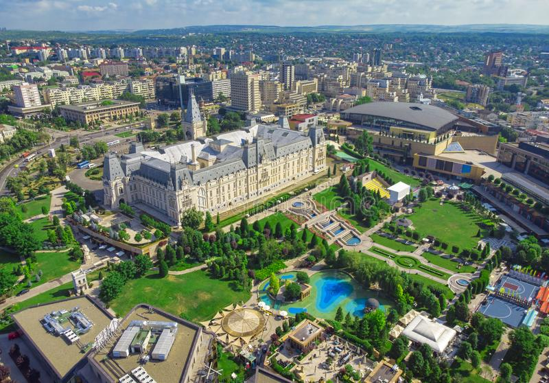 Iasi city view of Culture Palace. Aerial scene, Romania stock images