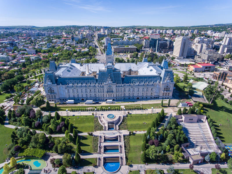 Iasi Culture Palace in Moldova, Romania. As seen from above aerial view royalty free stock photo