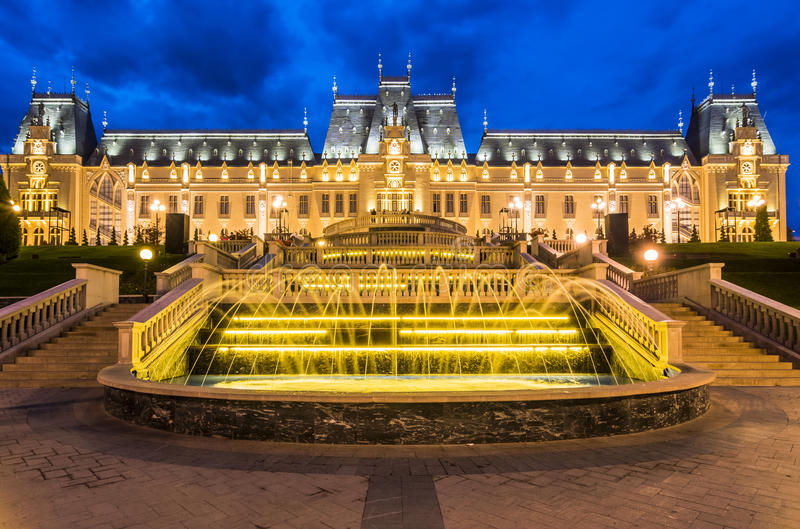 Iasi landmark, Romania. Street view of The Palace of Culture, an edifice in Iasi, Romania. The building served as Administrative Palace, Palace of Justice until royalty free stock image