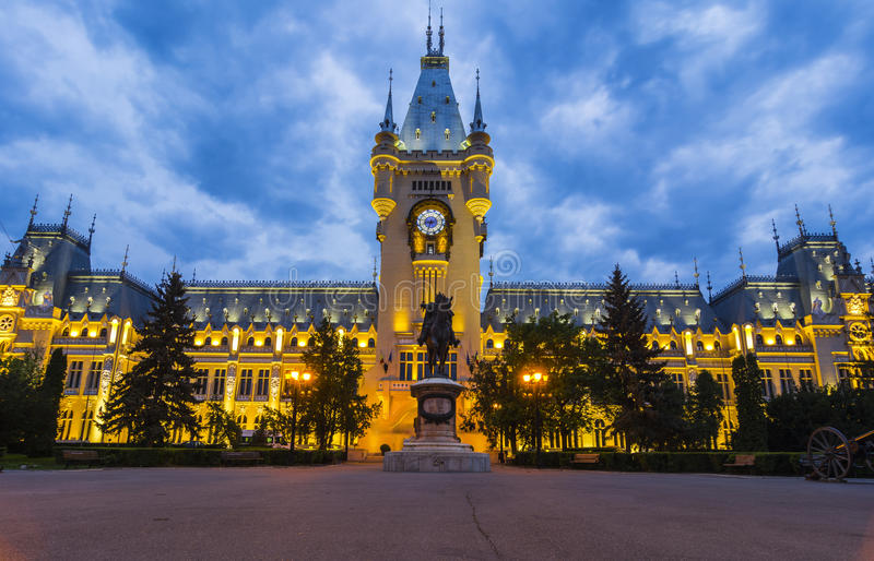 Iasi landmark, Romania. Street view of The Palace of Culture, an edifice in Iasi, Romania. The building served as Administrative Palace and then Palace of royalty free stock images