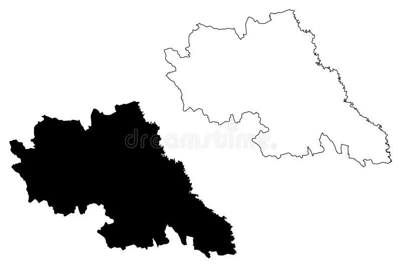 Iasi okręgu administracyjnego Administracyjni podziały Rumunia, Est rozwoju regionu mapy wektorowa ilustracja, skrobaniny nakreśl ilustracji