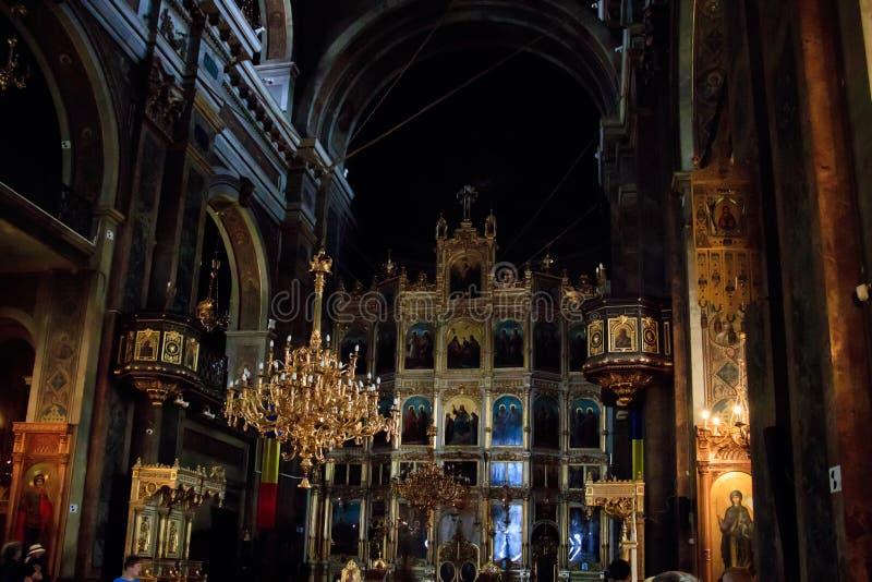 Metropolitan Cathedral in Iasi, Romania. IASI, ROMANIA - Aug 24, 2019: The interior in the Metropolitan Cathedral in Iasi, Romania royalty free stock images