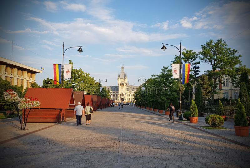 Iasi Romania city center in summer. The city center of Iasi Romania at evening in summer days royalty free stock images