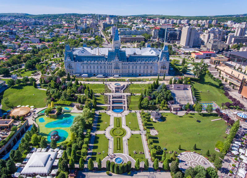 Iasi Romania. Iasi, Romania city centre and public garden as seen from above royalty free stock photos