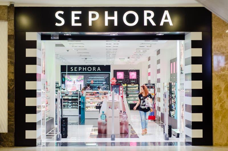 IASI RUMÄNIEN: 07 JULI 2015: Sephora lager royaltyfri foto