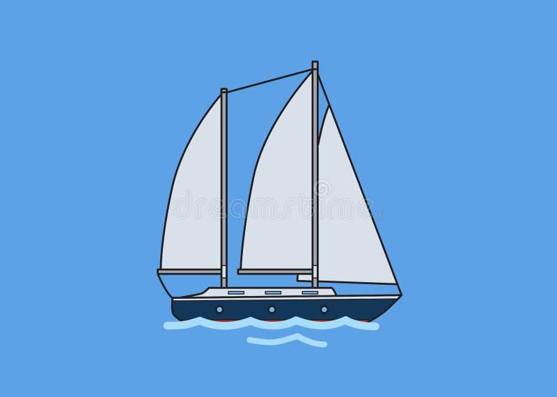 Iate da navigação de dois mastros, veleiro Ilustração lisa do vetor Isolado no fundo azul ilustração royalty free