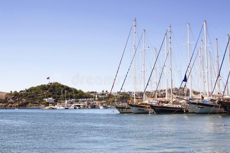 Iate e barcos de vela luxuosos fotografia de stock